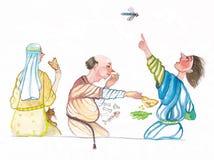 Μεσαιωνικοί άνθρωποι που τρώνε την απεικόνιση watercolor Στοκ φωτογραφία με δικαίωμα ελεύθερης χρήσης