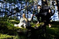 Μεσαιωνικοί άνδρας και γυναίκα Στοκ Εικόνες