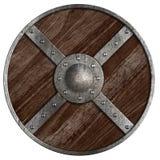 Μεσαιωνικοί Βίκινγκ γύρω από την ξύλινη ασπίδα που απομονώνονται στοκ εικόνες