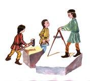 Μεσαιωνικοί γλύπτες - δώστε τη συρμένη έγχρωμη εικονογράφηση, μέρος του μεσαιωνικού συνόλου σειράς Στοκ Φωτογραφία