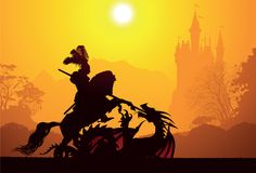 Μεσαιωνικοί ιππότης και δράκος Στοκ Φωτογραφίες