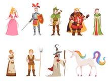 Μεσαιωνικοί ιστορικοί χαρακτήρες Ιπποτών βασιλιάδων βασίλισσας πριγκήπων πριγκηπισσών καθορισμένα κινούμενα σχέδια μαγισσών αλόγω ελεύθερη απεικόνιση δικαιώματος