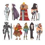 Μεσαιωνικοί ιστορικοί χαρακτήρες κινουμένων σχεδίων στα παραδοσιακά κοστούμια καθορισμένα, πολεμιστής, βασιλιάς, ιππότης, παλαιός απεικόνιση αποθεμάτων