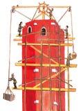 Μεσαιωνικοί οικοδόμοι που κάνουν έναν πύργο - δώστε τη συρμένη έγχρωμη εικονογράφηση, μέρος του μεσαιωνικού συνόλου σειράς Στοκ φωτογραφίες με δικαίωμα ελεύθερης χρήσης