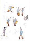 Μεσαιωνικοί στρατιώτες - δώστε τη συρμένη έγχρωμη εικονογράφηση, μέρος του μεσαιωνικού συνόλου σειράς Στοκ Φωτογραφίες