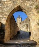 Μεσαιωνικοί τοίχοι και πύργοι του Carcassonne, Languedoc, Γαλλία στοκ φωτογραφίες με δικαίωμα ελεύθερης χρήσης