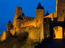 Μεσαιωνικοί τοίχοι φρουρίων το βράδυ Carcassonne Στοκ εικόνες με δικαίωμα ελεύθερης χρήσης