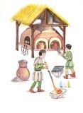 Μεσαιωνικοί glassmakers- δίνουν τη συρμένη έγχρωμη εικονογράφηση, μέρος του μεσαιωνικού συνόλου σειράς Στοκ φωτογραφίες με δικαίωμα ελεύθερης χρήσης