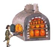 Μεσαιωνικός αγγειοπλάστης που βάζει φωτιά στον κλίβανο - δώστε τη συρμένη έγχρωμη εικονογράφηση, μέρος του μεσαιωνικού συνόλου σε Στοκ Φωτογραφίες