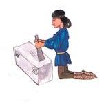 Μεσαιωνικός γλύπτης που εργάζεται με την πέτρα - δώστε τη συρμένη έγχρωμη εικονογράφηση, μέρος του μεσαιωνικού συνόλου σειράς Στοκ εικόνα με δικαίωμα ελεύθερης χρήσης