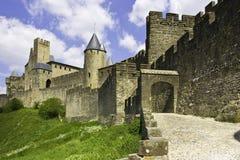 μεσαιωνικός πόλεων του Carcassonne που περιτοιχίζεται Στοκ Εικόνα