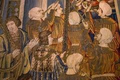 Μεσαιωνικός τάπητας στο κάστρο Ecouen, Ecouen, Γαλλία Στοκ εικόνα με δικαίωμα ελεύθερης χρήσης