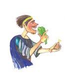 Μεσαιωνικό άτομο που τρώει την απεικόνιση watercolor Στοκ Φωτογραφίες