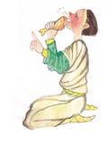 Μεσαιωνικό άτομο που τρώει την απεικόνιση watercolor Στοκ Εικόνες
