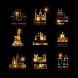 Μεσαιωνικό διανυσματικό αρχαίο βασιλικό λογότυπο φρουρίων κάστρων και ιπποτών Στοκ Εικόνες