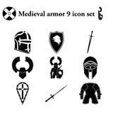 Μεσαιωνικό τεθωρακισμένο 9 εικονίδια καθορισμένα Στοκ Εικόνα