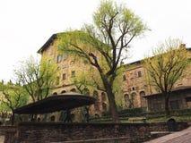 Μεσαιωνικό τετράγωνο αρχιτεκτονικής στο Μπέργκαμο Στοκ Εικόνα