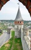 Μεσαιωνικό φρούριο επάνω από την ουκρανική πόλη kamianets-Podilskyi Στοκ Φωτογραφία