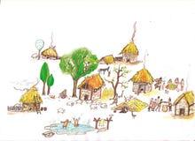 Μεσαιωνικό χωριό - δώστε τη συρμένη έγχρωμη εικονογράφηση, μέρος του μεσαιωνικού συνόλου σειράς Στοκ φωτογραφίες με δικαίωμα ελεύθερης χρήσης