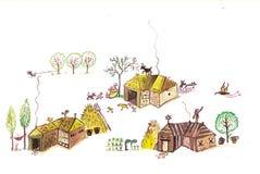 Μεσαιωνικό χωριό - δώστε τη συρμένη έγχρωμη εικονογράφηση, μέρος του μεσαιωνικού συνόλου σειράς Στοκ Φωτογραφίες