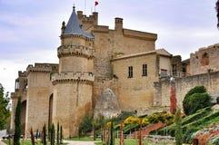 Μεσαιωνικό χωριό Olite με τους πύργους από το παλαιό κάστρο, Ναβάρρα, Ισπανία Στοκ Εικόνες