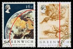 Μεσημβρινά γραμματόσημα της Μεγάλης Βρετανίας Γκρήνουιτς Στοκ Φωτογραφία