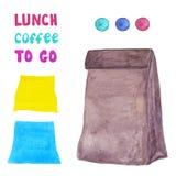 Μεσημεριανό γεύμα για να πάει στοιχεία που απομονώνονται Στοκ Εικόνα