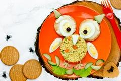 Μεσημεριανό γεύμα κουκουβαγιών αποκριών για τα παιδιά - βρασμένο αυγό με το ρύζι Στοκ Φωτογραφίες