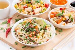 μεσημεριανό γεύμα - νουντλς με τα λαχανικά και πράσινα, τηγανισμένο ρύζι με tofu στοκ φωτογραφία
