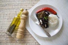 Μεσημεριανό γεύμα των ρόλων ρυζιού και μελιτζανών Στοκ Φωτογραφία
