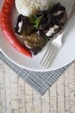 Μεσημεριανό γεύμα των ρόλων ρυζιού και μελιτζανών Στοκ Φωτογραφίες