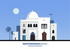 Μεσογειακά μαροκινά ή αραβικά σπίτια ύφους καθορισμένα Στοκ εικόνες με δικαίωμα ελεύθερης χρήσης