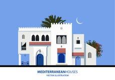 Μεσογειακά μαροκινά ή αραβικά σπίτια ύφους καθορισμένα Στοκ Εικόνες