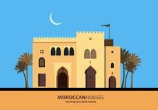 Μεσογειακά μαροκινά ή αραβικά σπίτια ύφους καθορισμένα Στοκ φωτογραφία με δικαίωμα ελεύθερης χρήσης