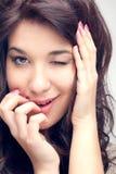Μεσογειακές γυναίκες που κλείνουν το μάτι - βλαστός στούντιο Στοκ εικόνα με δικαίωμα ελεύθερης χρήσης