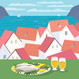 Μεσογειακή έννοια κουζινών Στοκ εικόνα με δικαίωμα ελεύθερης χρήσης