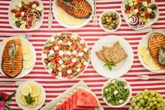 Μεσογειακή διατροφή Υγιής έννοια κατανάλωσης r στοκ φωτογραφίες με δικαίωμα ελεύθερης χρήσης