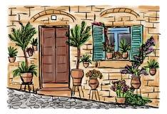 Μεσογειακή πόλης ζωγραφική διανυσματική απεικόνιση