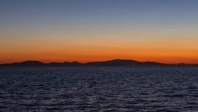 μεσογειακό ηλιοβασίλεμα νησιών της Κρήτης Ελλάδα Στοκ φωτογραφία με δικαίωμα ελεύθερης χρήσης