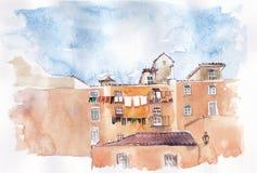 Μεσογειακό κατοικημένο κτήριο σκίτσο Στοκ Φωτογραφίες