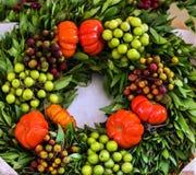 Μεσογειακό στεφάνι δαφνών των καρυκευμάτων και των φρούτων Στοκ εικόνα με δικαίωμα ελεύθερης χρήσης