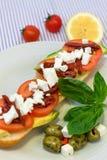 Μεσογειακό φυτικό σάντουιτς στοκ εικόνα