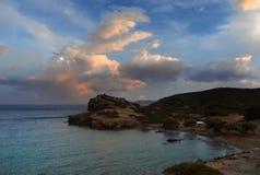 Μεσογειακό Seacoast ηλιοβασίλεμα Στοκ εικόνα με δικαίωμα ελεύθερης χρήσης