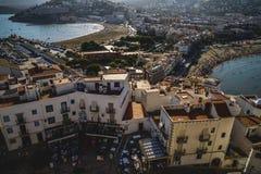 Μεσόγειος, του χωριού απόψεις peniscola από το κάστρο της μπαμπά Στοκ εικόνες με δικαίωμα ελεύθερης χρήσης
