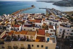 Μεσόγειος, του χωριού απόψεις peniscola από το κάστρο της μπαμπά Στοκ Εικόνα