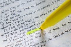 Μετάβαση Βίβλων με εξαγορασμένο ` ` που τονίζεται Στοκ Εικόνες