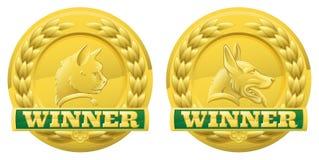 Μετάλλια νικητών κατοικίδιων ζώων γατών και σκυλιών Στοκ Εικόνες