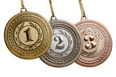 μετάλλια που τίθενται Στοκ Φωτογραφίες