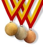 μετάλλια τρία Στοκ εικόνα με δικαίωμα ελεύθερης χρήσης