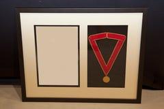 Μετάλλιο και πλαίσιο βραβείων Στοκ φωτογραφία με δικαίωμα ελεύθερης χρήσης